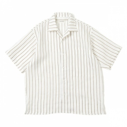 OPEN COLLAR SHIRTS ORGANIC LINEN PRINTED STRIPE