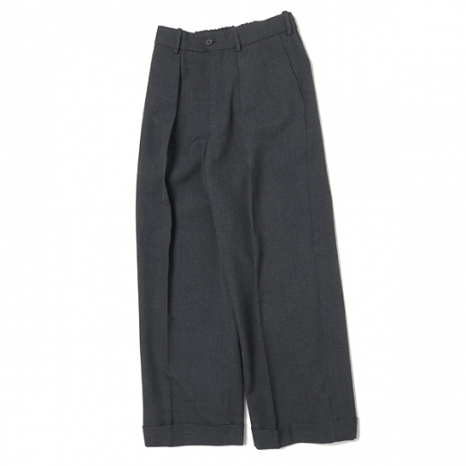 PLEATED WIDE TROUSERS ORGANIC WOOL SURVIVAL CLOTH