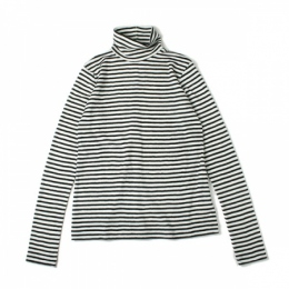 wool pile border high neck pullover