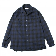 OPEN COLLAR SHIRTS L/S CHECK POPLIN