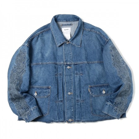 CHAOS EMBROIDERY HEMP DENIM JACKET