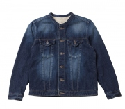 12.5oz BAND COLLAR DENIM JACKET -USED-