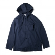 HOODED CHINESE BUTTON BROAD JACKET