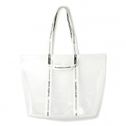 plaid vinyl logo tape big tote