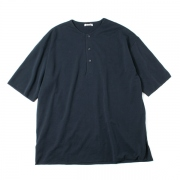 HIGH GAUGE PIQUE DOUBLE CLOTH HENLEY NECK