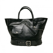shrink leather big tote bag