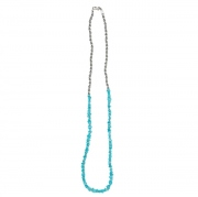 Turquoise Necklace with Brass Coated Beads