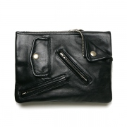 shrink leather W clutch