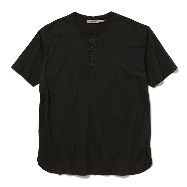 DWELLER HENLEY NECK S/S TEE COTTON JERSEY OVERDYED