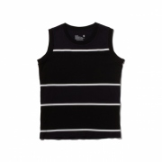 CONTRASTED BORDER NO SLEEVE T-SHIRT
