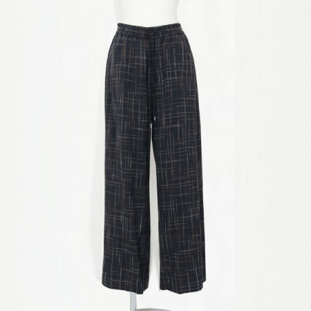 SLUB RAYON AND COTTON WIDE LEG TROUSERS