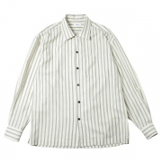 Stripe open collar shirt