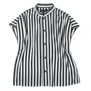 SATIN TRIMMED STRIPED BLOUSE