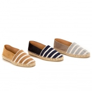 Cotton Border Espadrille with Cow Suede Leather