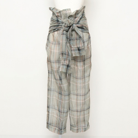 Organdy check skeeve belt pants