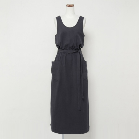 ORGANIC COTTON TWILL SLIT DRESS