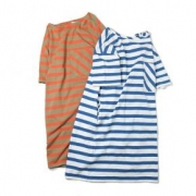 cotton border long T-shirt