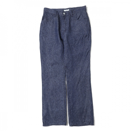 LINEN DENIM SLIM FLARE PANTS