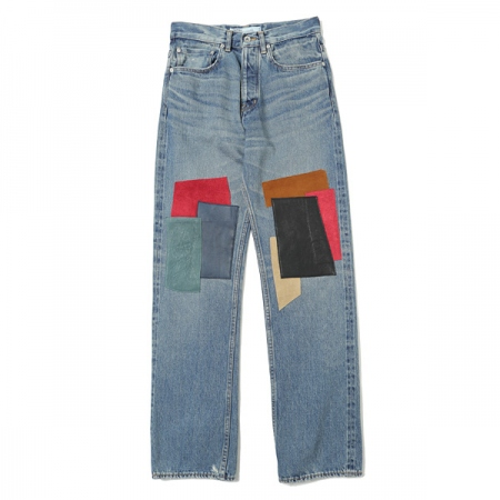 Leather Patch Work Slim Denim Pants