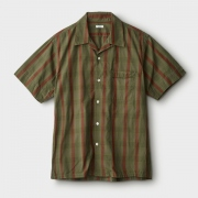 STRIPE CHECK OPEN COLLAR SS SHIRT