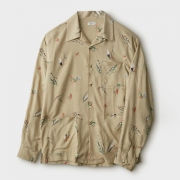 FLY PATTERN OPEN COLLAR LS SHIRT