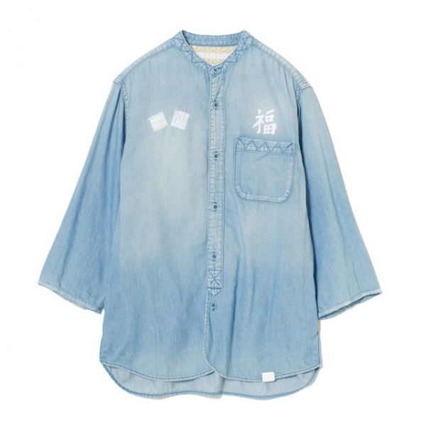 EMBROIDERED STAND COLLAR DENIM SHIRT