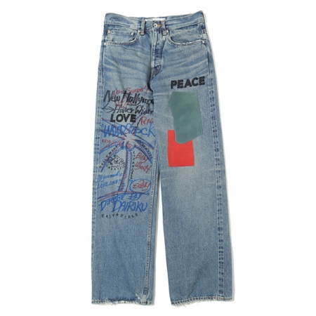 Leather Patch & Hand Paint Denim Pants