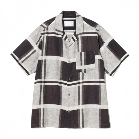 LARGE CHECK PRINTED OPEN COLLAR SHIRT