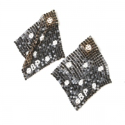 metal mesh scarf print earrings