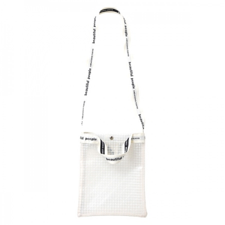 plaid vinyl logo tape sacoshe bag
