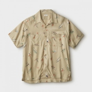 FLY PATTERN OPEN COLLER SS SHIRT