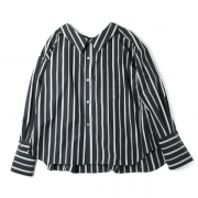 STRIPED COTTON BOWKNOT BACK SHIRT