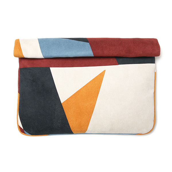 ultra suede geometric pt clutch