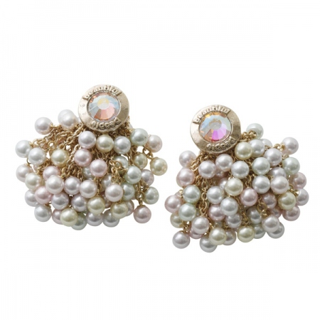 color pearl pierced earrings