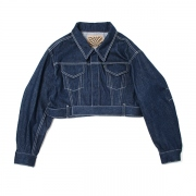CONTRASTED STITCH BELTED DENIM JACKET