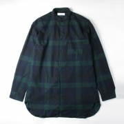 BAND COLLAR SHIRTS COTTON CHECK FLANNEL