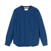 INDIGO CHAMBRAY NO COLLAR SHIRT