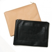big logo leather clutch