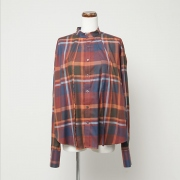 BIG PLAID STAND COLLAR SHIRT