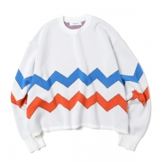 BORDER KNIT&SEWN SWEATER
