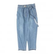 CASHMERE DENIM WIDE TAPERED TROUSERS