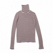 waffle border high neck pullover