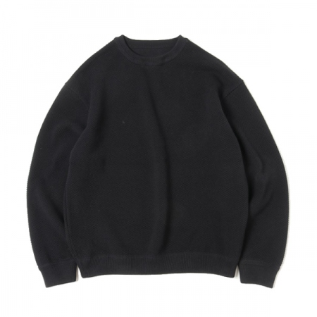 Moss stitch L/S sweat(BLACK)
