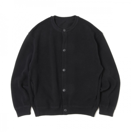 Moss stitch crew cardigan(BLACK)