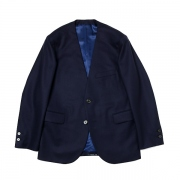COLLARLESS JACKET ORGANIC WOOL FLANNEL