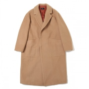 MELTON WOOL BLEND STITCH COAT