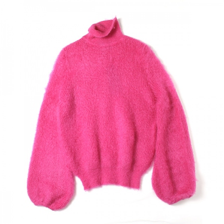 MOHAIR BALLOON SLEEVE POLO NECK JUMPER