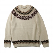 round yoke single jacquard pullover