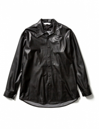FAKE LEATHER OPEN COLLAR SHIRT
