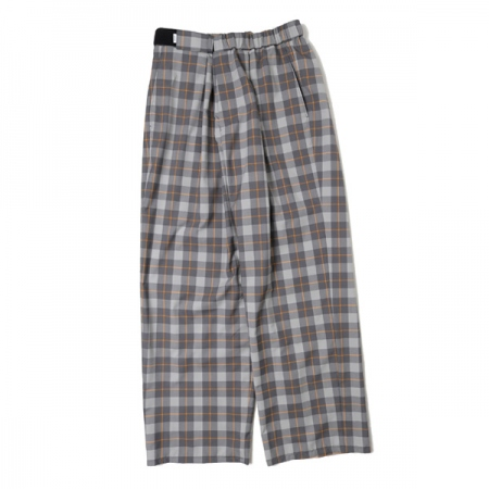 Fine Wool Check Wide Tapered Chef Pants